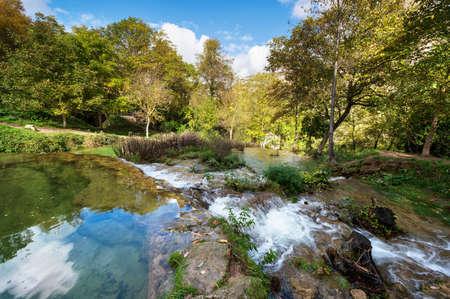 Orbaneja del Castillo waterfall in Burgos, Castilla y Leon, Spain.