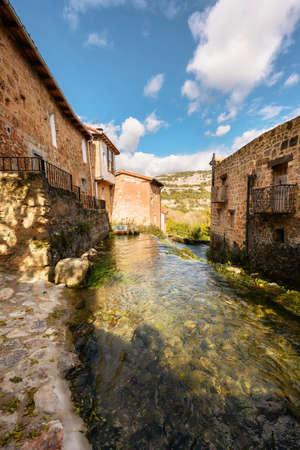 Picturesque Village Orbaneja Del Castillo in Burgos, Castilla Leon, Spain.