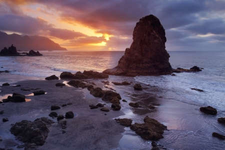Benijo beach at sunset in Tenerife, Canary islands, Spain.