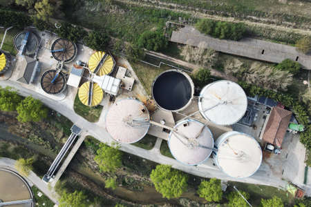 Aerial view of Piping and tanks of industrial factory Фото со стока
