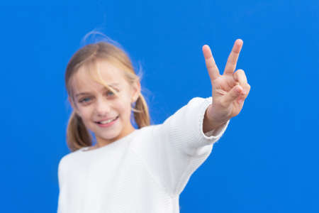 Young beautiful blond girl wearing casual sweater over blue background smiling looking to the camera showing fingers doing victory sign. number two. Reklamní fotografie