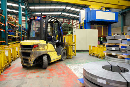 Forklift loader. Pallet stacker truck equipment at warehouse Zdjęcie Seryjne