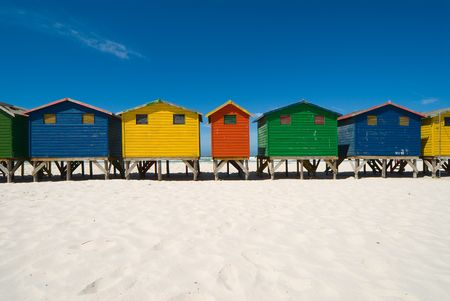 Colored beach huts