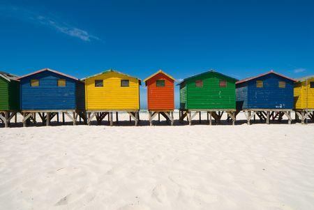 Colored spiaggia rifugi Archivio Fotografico