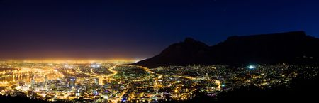 Panorama of capetown at night photo