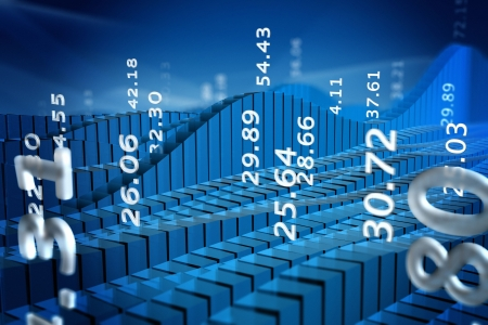 Rendering of stock market chart with abstract numbers photo