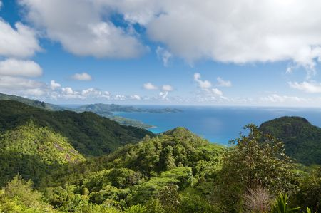 Scenic view over coastline of northern Mahe, Seychelles Stock Photo