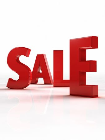 Red word sale in single letter