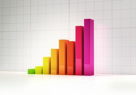 Shiny colorful abstract bar graph indicating growth Stock Photo - 7429672