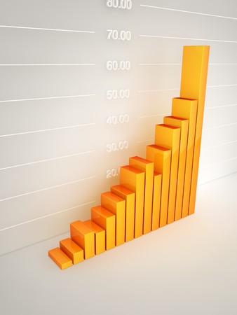 Abstract bar graph at wall Stock Photo - 7429669