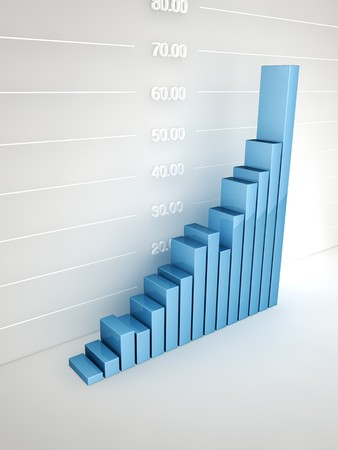 Abstract bar graph at wall Stock Photo - 7429671