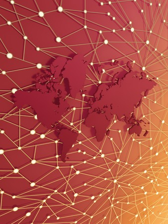 Abstract world map in information web Stock Photo