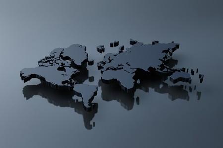 Computer genereted plain world map above black mirror Stock Photo