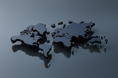 Computer genereted plain world map above black mirror Stock Photo