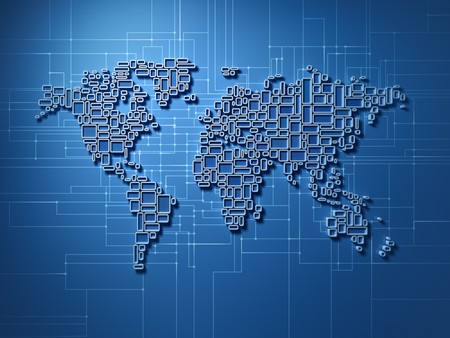 Three dimensional mosaic world map - showing global networking