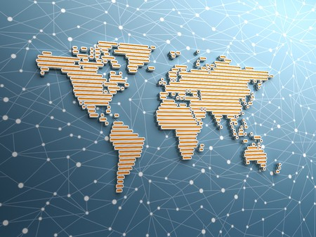 Three dimensional world map made of long rectangular structures - showing global networking Stock Photo - 7511163