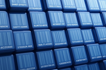identifier: Digital generated group of cubes with different barcodes Stock Photo