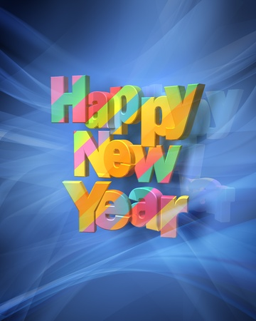 Rendering  of a colorful Happy New Year