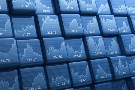 Digitale erzeugten Gruppe von Würfeln mit Aktienkursen