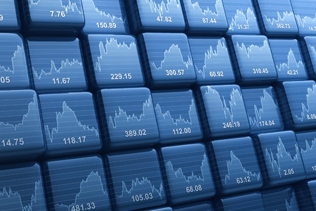 Grupo digital generada de cubos con precios de las acciones