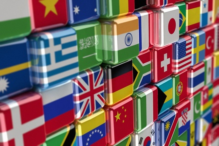 Big pile of international flags