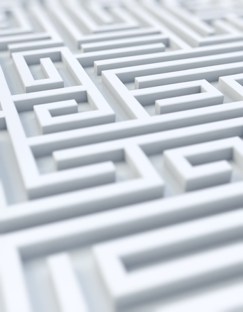 ways: Rendering of a photorealistic white maze