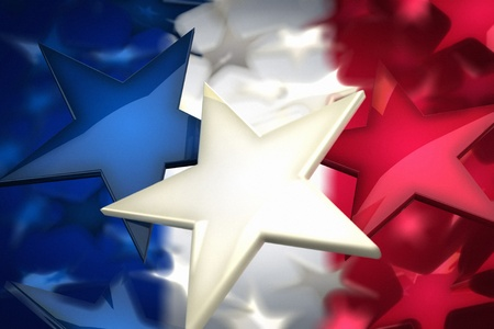 France flag by stars