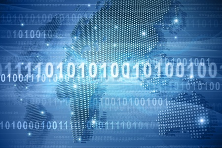 binary code: Map of the world in binary code
