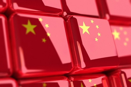 adjusted: Rendering of chinese flags as cubes Stock Photo