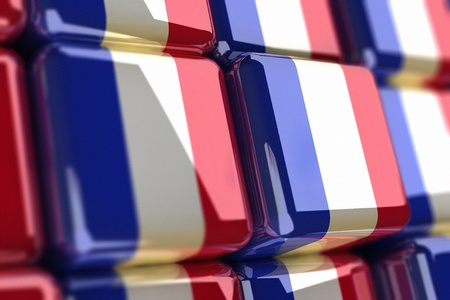 Big pile of cubes with french flag Stock Photo