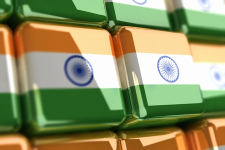 Big pile of cubes with indian flag Stock Photo