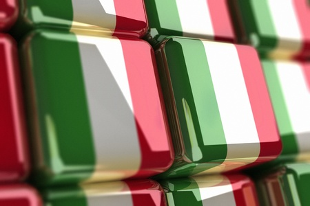 Big pile of cubes with italian flag Stock Photo