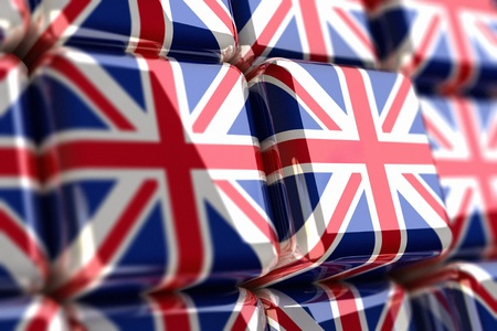 Rendering of union jack in cubes Stock Photo - 10884801