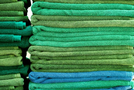 toweling: Stack of green and blue towels