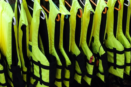 safety jacket: Collection of bright life vests