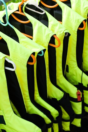Collection of bright life vests