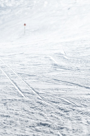 Close up of ski track in selected focus Stock Photo