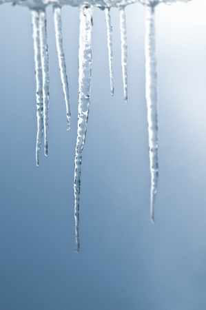 Long icicles in front of blurred light blue background