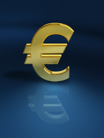 Golden Euro on shiny blue background