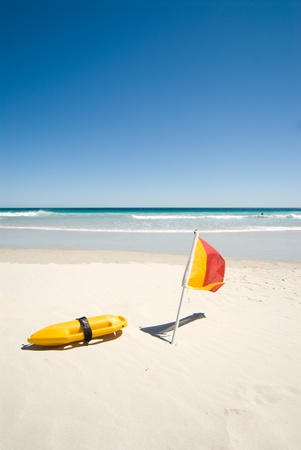 Close up of lifeguards equipment on beach Stock Photo