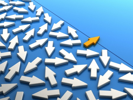 courageous: Orange arrow breaking out of the crowd. Conceptual image of going different ways Stock Photo