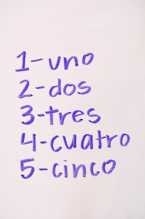 Numbers in written in the Spanish language on a whiteboard