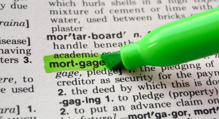 The word mortgage  highlighted in a dictionary.