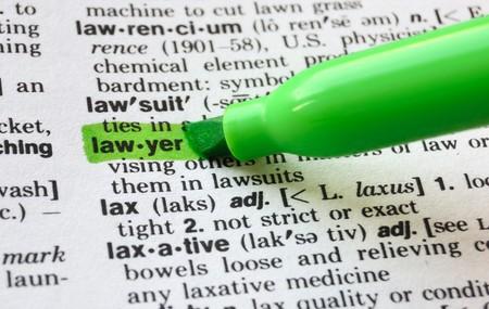 辞書で強調表示されます word 弁護士。 写真素材