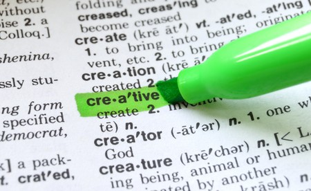 resourceful: The word creative highlighted in a dictionary.