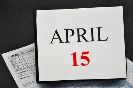 almanac: April 15 on calendar and 1040 tax form