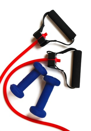stretchy: Red Resistance Band and Blue Weights isolated on white, view from above, vertical