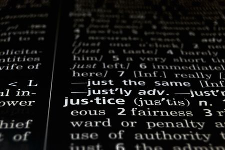 courtroom: The word Justice in a dictionary, white on black