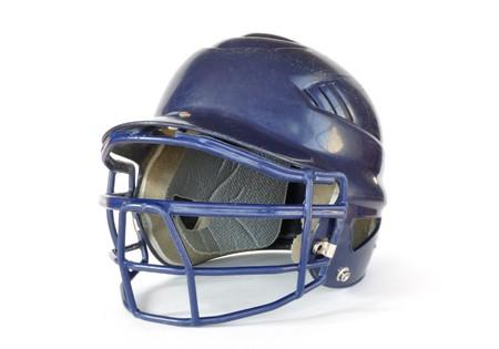 A blue baseball helmet isolated on white.