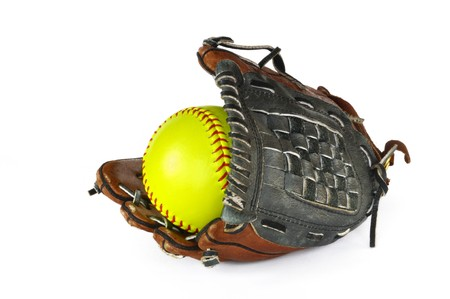 Yellow Softball and Glove isolated on white.